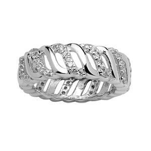 1001 Bijoux - Bague argent rhodié anneaux ondules et oxydes blancs pas cher