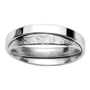 Alliance En argent rhodié 3mm double anneaux : 1 brillant et 1 effet givré