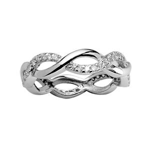 Image of Bague argent rhodié anneaux croisés et pierres synthétiques blanches