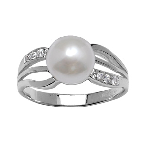 1001 Bijoux - Bague argent rhodié pierres blanches et perle imitation crème pas cher