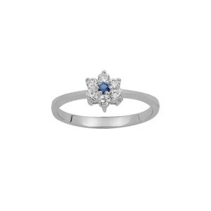 1001 Bijoux - Bague argent rhodié marguerite pierre centrale bleu azur et contour pierres synthétiques blanches pas cher