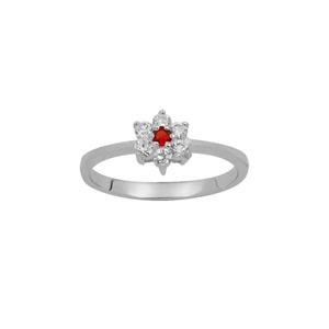 1001 Bijoux - Bague argent rhodié marguerite pierre centrale rouge et contour pierres synthétiques blanches pas cher