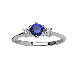 1001 Bijoux - Bague argent rhodié pierre centrale bleu azur et 2 pierres blanches synthétiques pas cher