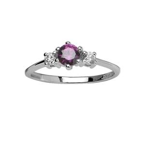 1001 Bijoux - Bague argent rhodié pierre centrale violette et 2 pierres blanches synthétiques pas cher