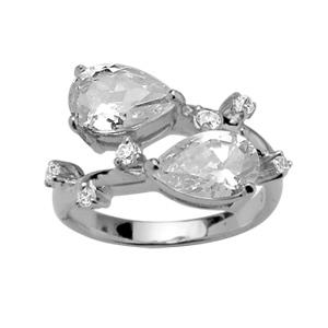 1001 Bijoux - Bague argent rhodié 2 pierres synthétiques blanches forme poire et petits Zirconia blancs sur côtés pas cher