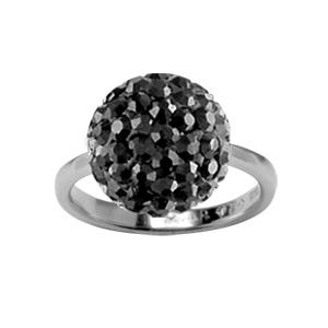 1001 Bijoux - Bague argent rhodié boule pierres noires synthétiques pas cher