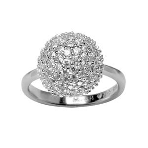 1001 Bijoux - Bague argent rhodié boule pierres blanches synthétiques pas cher