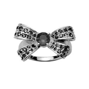 1001 Bijoux - Bague argent rhodié noeud et pierres noires pas cher