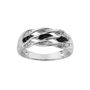 1001 Bijoux - Bague argent rhodié 3 rangs vrilles pierres synthétiques blanches et noires pas cher