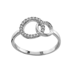 1001 Bijoux - Bague argent rhodié double cercle entrelacé pierres blanches pas cher