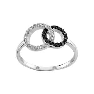 1001 Bijoux - Bague argent rhodié double cercle entrelacé pierres blanches et noires pas cher