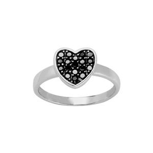 1001 Bijoux - Bague argent rhodié coeur pierres noires synthétiques pas cher
