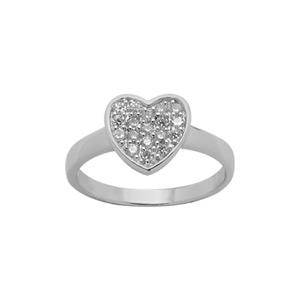 Bague Argent rhodié coeur pierres blanches synthétiques