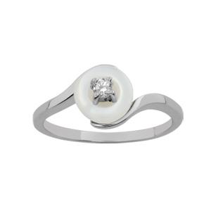 1001 Bijoux - Bague argent rhodié pastille nacre blanche véritable petite pierre blanche pas cher