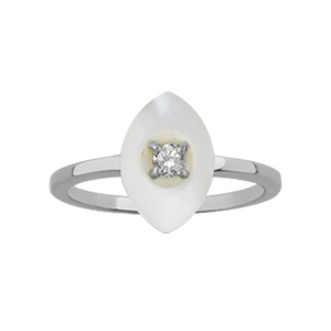 1001 Bijoux - Bague argent rhodié navette nacre blanche véritable petite pierre blanche synthétique pas cher