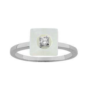 1001 Bijoux - Bague argent rhodié nacre blanche véritable forme carré petite pierre blanche synthétique pas cher