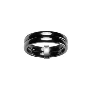 Alliance Double anneaux en céramique noire avec béliere en argent