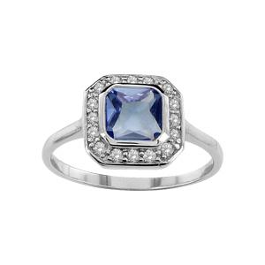 1001 Bijoux - Bague argent rhodié pierre forme carrée bleue contours pierres blanches pas cher