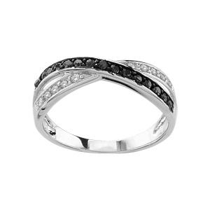 1001 Bijoux - Bague argent rhodié croisée pierres noires et blanches pas cher
