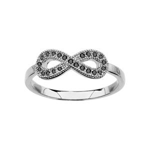 1001 Bijoux - Bague argent rhodié forme huit (infini) pierres noires pas cher