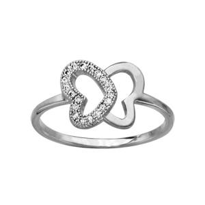 1001 Bijoux - Bague argent rhodié forme papillon ajourée oxydes blancs pas cher