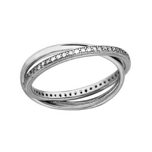 1001 Bijoux - Alliance double argent rhodié oxydes blancs sertis avec anneau lisse pas cher