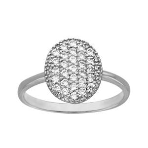 1001 Bijoux - Bague argent rhodié forme ovale oxydes blancs sertis pas cher