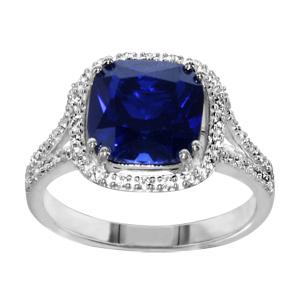 1001 Bijoux - Bague argent rhodié pierre centrale carrée bleue contour oxydes sertis blancs pas cher