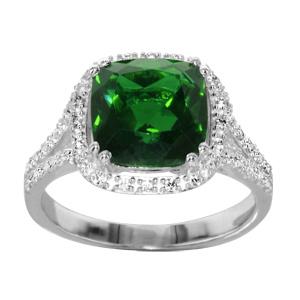 1001 Bijoux - Bague argent rhodié pierre centrale carrée verte contour oxydes sertis blancs pas cher