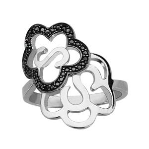 1001 Bijoux - Bague argent rhodié double fleur oxydes noirs sertis pas cher