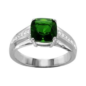 1001 Bijoux - Bague argent rhodié pierre verte carrée oxydes blancs sertis pas cher