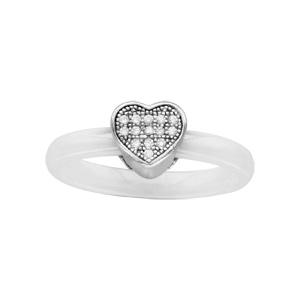1001 Bijoux - Bague argent rhodié anneau céramique blanche coeur oxydes micro-sertis blancs pas cher