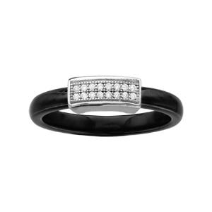 1001 Bijoux - Bague argent rhodié anneau céramique noire petite barrette oxydes micro-sertis blancs pas cher