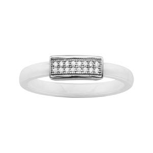 1001 Bijoux - Bague argent rhodié anneau céramique blanche petite barrette oxydes micro-sertis blancs pas cher