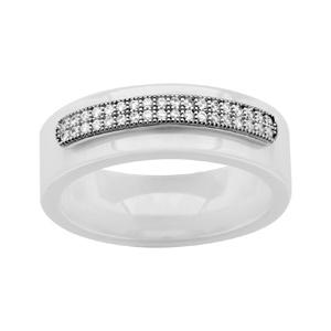 1001 Bijoux - Bague argent rhodié anneau céramique blanche double rail oxydes micro-sertis blancs pas cher