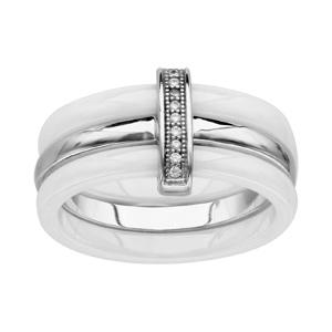1001 Bijoux - Bague argent rhodié 2 anneaux céramique blanche 1 anneau lisse oxydes micro-sertis blancs pas cher