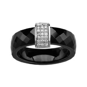 1001 Bijoux - Bague argent rhodié anneau céramique facette noire barrette oxydes micro-sertis blancs pas cher