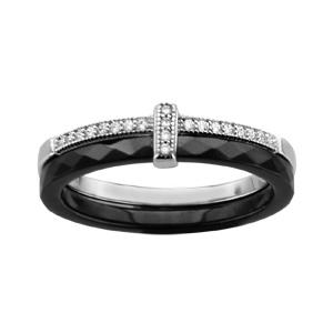 1001 Bijoux - Bague argent rhodié double anneau 1 céramique facette noir 1 rail oxydes micro-sertis blancs pas cher
