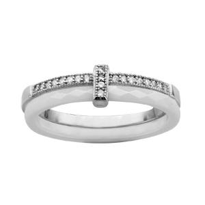 1001 Bijoux - Bague argent rhodié double anneau 1 céramique facette blanche 1 rail oxydes micro-sertis blancs pas cher