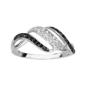 1001 Bijoux - Bague argent rhodié 2 rangs pierres noires 1 rang oxydes blancs en biais pas cher
