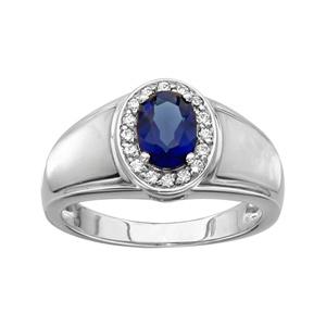 Image of Bague argent rhodié pierre ovale bleu contour oxydes blancs sertis et nacre blanche