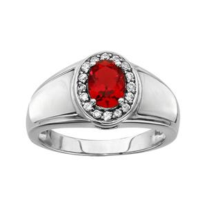 1001 Bijoux - Bague argent rhodié pierre ovale rouge contour oxydes blancs sertis et nacre blanche pas cher