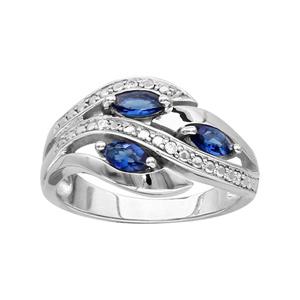 1001 Bijoux - Bague argent rhodié 3 navettes pierres bleu et oxydes blancs sertis pas cher