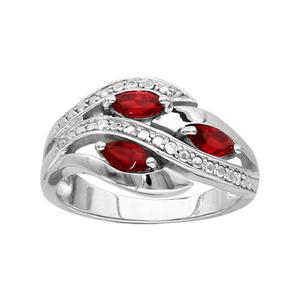 1001 Bijoux - Bague argent rhodié 3 navettes pierres rouge et oxydes blancs sertis pas cher