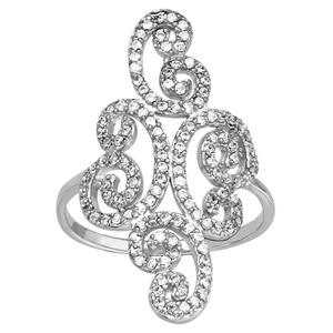 1001 Bijoux - Bague argent rhodié forme arabesque oxydes blancs sertis pas cher