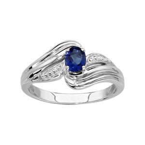 1001 Bijoux - Bague argent rhodié pierre bleue pas cher