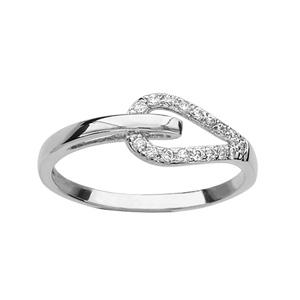 1001 Bijoux - Bague argent rhodié double anneau forme goutte oxydes blancs sertis pas cher