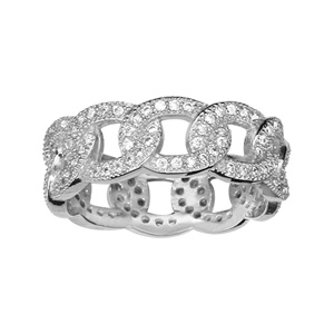 1001 Bijoux - Bague argent rhodié anneau style mailles entrelacées pierres blanches pas cher