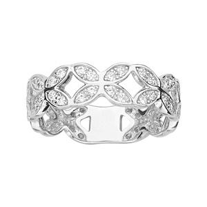 1001 Bijoux - Bague argent rhodié fleur pierres blanches pas cher