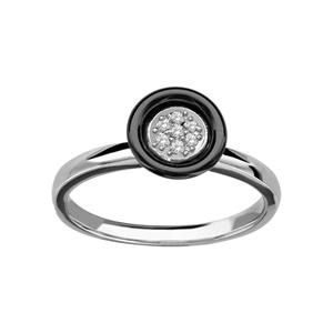 1001 Bijoux - Bague argent rhodié cercle céramique noir oxydes blancs sertis pas cher